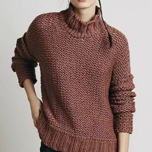 FREE PEOPLE Chunky Knit Oversize Mock Neck Sweater